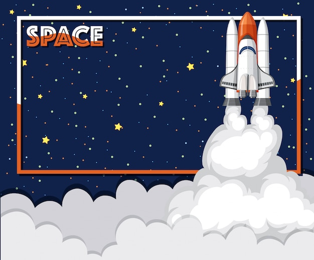 Banner template with spaceship flying in the space