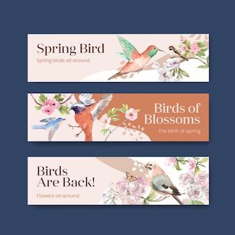 Шаблон баннера с концептуальным дизайном весны и птицы для рекламы и маркетинга акварельной иллюстрации