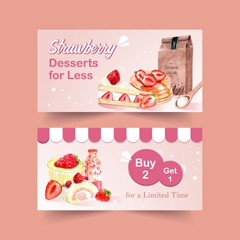 Banner template with strawberry baking design