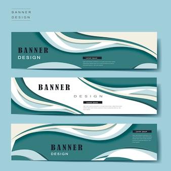 파란색과 흰색의 유선형 디자인의 배너 템플릿