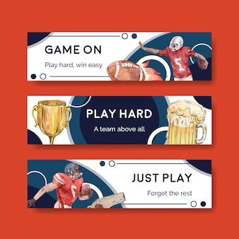 Modello di banner con super bowl sport concept design per pubblicizzare e marketing illustrazione vettoriale acquerello.