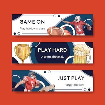 광고 및 마케팅 수채화 벡터 일러스트 레이 션에 대 한 슈퍼 볼 스포츠 컨셉 디자인 배너 템플릿.