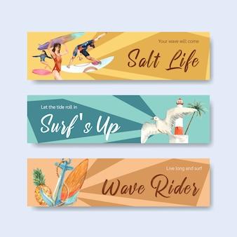 Шаблон баннера с досками для серфинга на пляже
