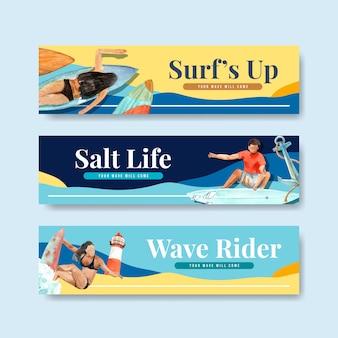 해변에서 서핑 보드와 배너 서식 파일