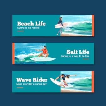 Modello di banner con tavole da surf in spiaggia design per vacanze estive tropicali e illustrazione vettoriale acquerello relax