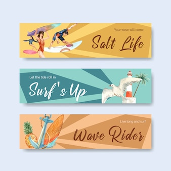 Banner template with surfboards at beach