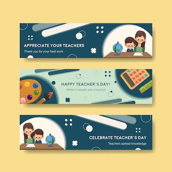 教師の日のコンセプトデザインのバナーテンプレート