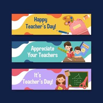 Шаблон баннера с концептуальным дизайном дня учителя