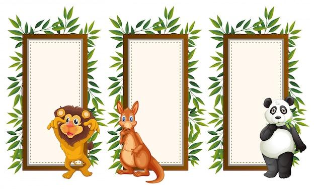 Banner template with three wild animals