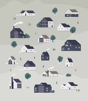 현대 스칸딕 건축과 걷는 사람들의 시골집이 있는 마을 지구가 있는 배너 템플릿. 교외 생활 건물 또는 부동산 배경. 플랫 만화 벡터 일러스트 레이 션.