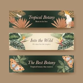 Шаблон баннера с концепцией тропической ботаники, акварель в стиле