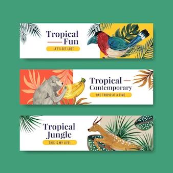Шаблон баннера с тропическим современным концептуальным дизайном для рекламы и маркетинга акварельной иллюстрацией
