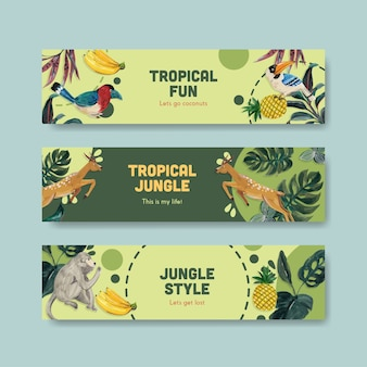 水彩イラストを宣伝およびマーケティングするための熱帯の現代的なコンセプトデザインのバナーテンプレート