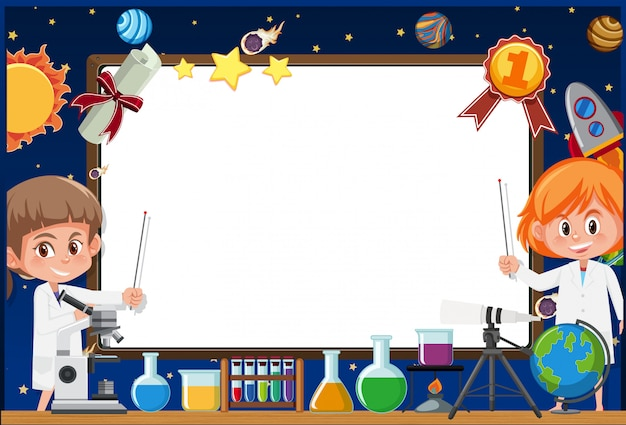 Banner template with two girls in science gown working in the lab