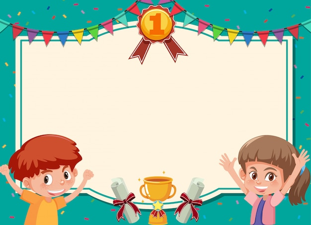 Banner template with two happy kids and green