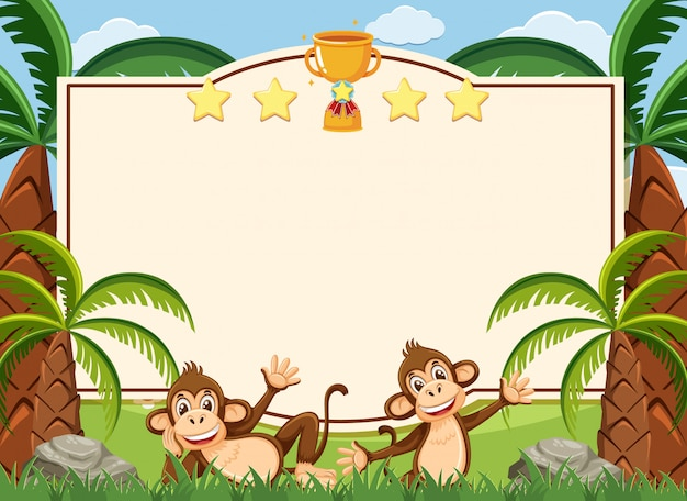 Banner template with two happy monkeys in the park