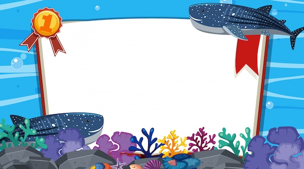 Banner template with two whales swimming under the sea