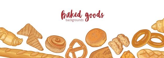 さまざまな種類のパンのバナーテンプレート