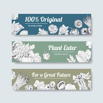 Modello di banner con design concept di cibo vegano.