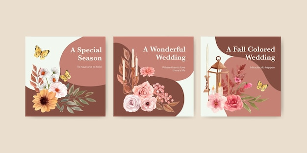 Banner template with wedding autumn concept in watercolor style
