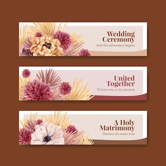 Banner template with wedding ceremony concept design for advertise watercolor illustration
