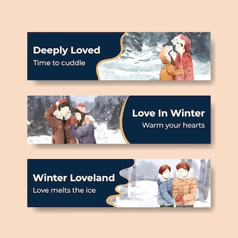Modello di banner con concept design di amore invernale per pubblicizzare e marketing illustrazione vettoriale acquerello
