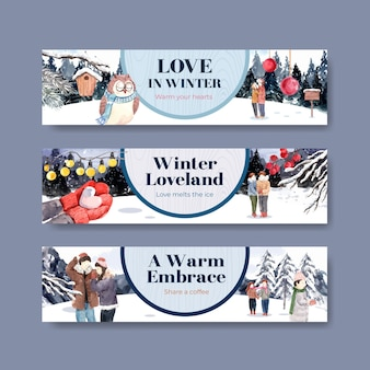 Banner template with winter love concept design for advertise and marketing watercolor vector illustration