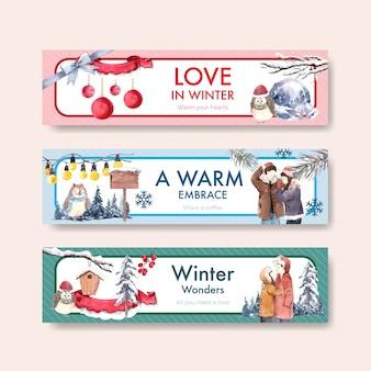 水彩ベクトルイラストを宣伝し、マーケティングするための冬の愛のコンセプトデザインのバナーテンプレート
