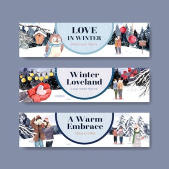 Шаблон баннера с зимней любовной концепцией для рекламы и маркетинга акварель векторные иллюстрации