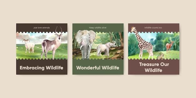 수채화 스타일의 세계 동물의 날 개념 배너 템플릿