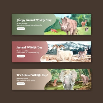 Banner template with world animal day concept in watercolor style
