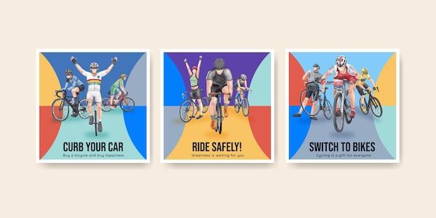 Шаблон баннера с концепцией всемирного дня велосипеда, акварель в стиле