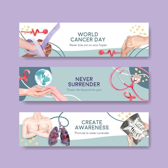 Banner template with world cancer day concept design for advertise and marketing watercolor vector illustration.
