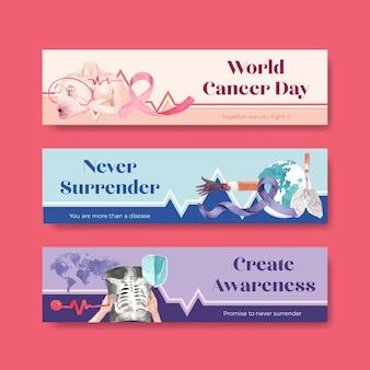 광고 및 마케팅 수채화 벡터 일러스트 레이 션에 대 한 세계 암의 날 컨셉 디자인 배너 템플릿.