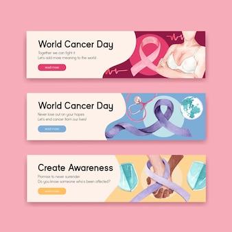 Шаблон баннера с дизайном концепции всемирного дня борьбы с раком для рекламы и маркетинга акварельной векторной иллюстрации.