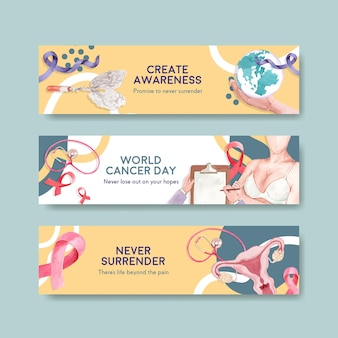 水彩のベクトル図を宣伝およびマーケティングするための世界対がんデーのコンセプトデザインのバナーテンプレート。