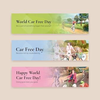 Modello di banner con concept design della giornata mondiale senza auto per pubblicità e brochure acquerello vettoriale.