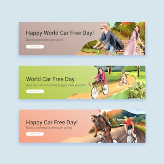 Banner template with world car free day concept design for advertise and brochure watercolor vector.