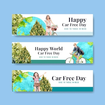 Banner template with world car free day concept design for advertise and brochure watercolor.