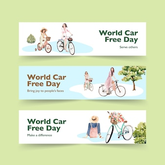 Шаблон баннера с концептуальным дизайном всемирного дня без автомобиля для рекламы и брошюры акварель вектор.