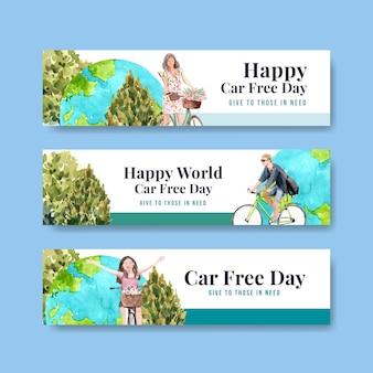 Шаблон баннера с концептуальным дизайном всемирного дня без автомобиля для рекламы и брошюры акварель.