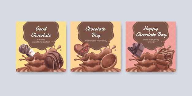 Banner template with world chocolate day concept Premium Vector