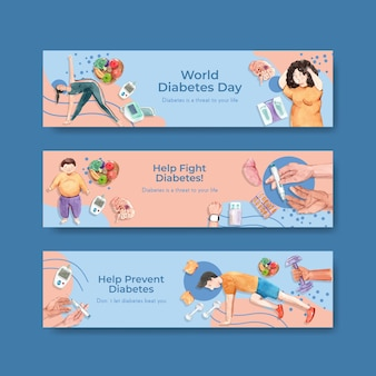 Banner template with world diabetes day for advertise and marketing watercolor