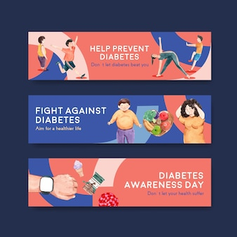 Banner template with world diabetes day concept design for advertise and marketing watercolor vector illustration.