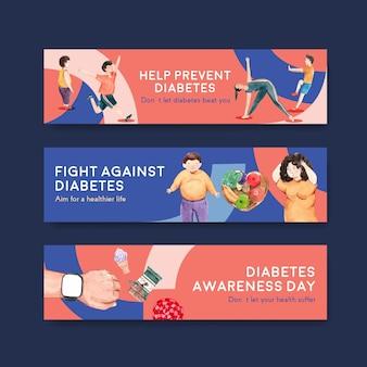 Modello di banner con concept design giornata mondiale del diabete per pubblicizzare e commercializzare illustrazione vettoriale acquerello.