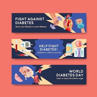 Шаблон баннера с дизайном концепции всемирного дня диабета для рекламы и маркетинга акварельной векторной иллюстрации.