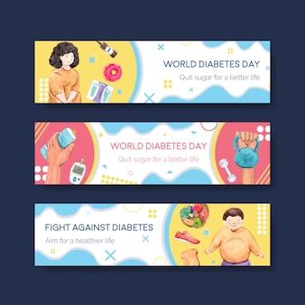 Шаблон баннера с всемирным днем диабета для рекламы и маркетинга акварели
