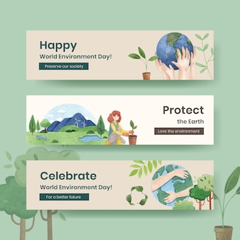 Banner template with world environment day concept,watercolor style