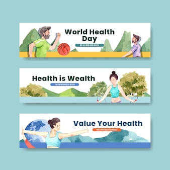 Banner template with world mental health day concept design for advertise and leaflet watercolor