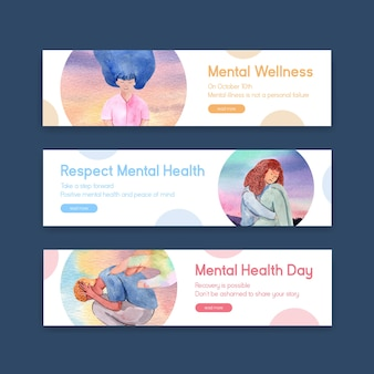 Banner template with world mental health day concept design for advertise and marketing watercolor vector illustraion.
